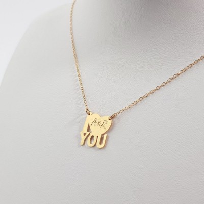 Personalized gold necklace I LOVE YOU | 18k Gold plated sterling silver | 14 x 14,9 mm