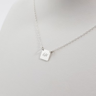 Personalized silver square bar necklace with initials | Sterling silver | 9 x 9 mm