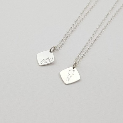 Custom square tag bar necklace | Sterling silver | 11 x 11 mm