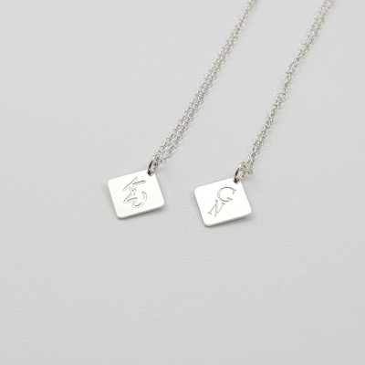 Personalized square tag bar necklace | Sterling silver | 12 x 12 mm