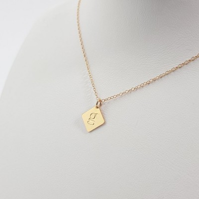 Engraved Square gold tag bar Necklace | 24k Gold plated sterling silver | 12 x 12 mm