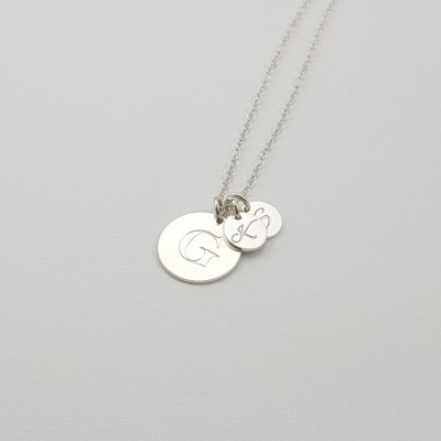Mother's Necklace with Kids Initials | Sterling silver | 13 x 13 mm i 7 x 7 mm