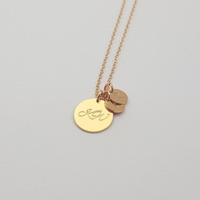 Personalized Necklace for new Mom Gift | 18k Gold plated sterling silver | 13 x 13 mm i 7 x 7 mm
