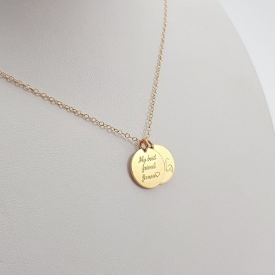 Two Initial Disc necklace | 18k Gold plated sterling silver | 13 x 13 mm