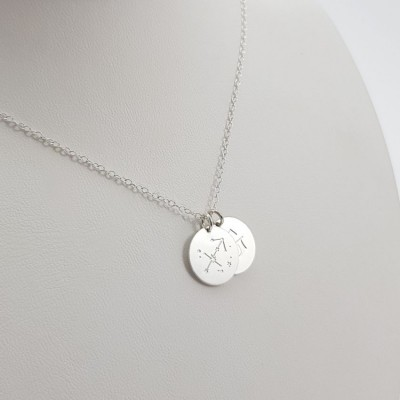 Custom Simple Disc Necklace | Sterling silver | 13 x 13 mm