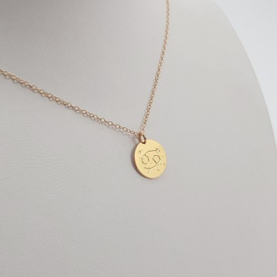 Custom Astrology Sign Necklace | 18k Gold plated sterling silver | 13 x 13 mm