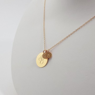 Personalized Large Disk Necklace with kids initials | 18k Gold plated sterling silver | 16 x 16 mm i 7 x 7 mm