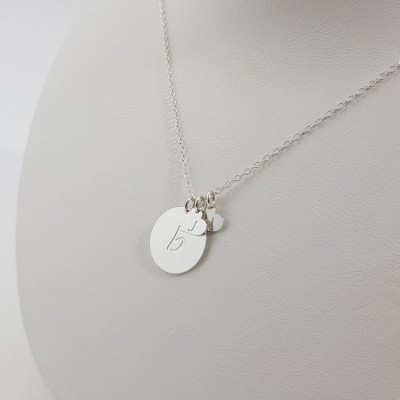 Personalized Large Disk and Heart necklace with kids initials | Sterling silver | 16 x 16 mm i 7 x 7 mm