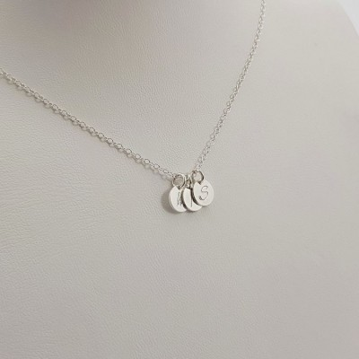 Tiny Personalized Disc Necklace | Sterling silver | 7 x 7 mm