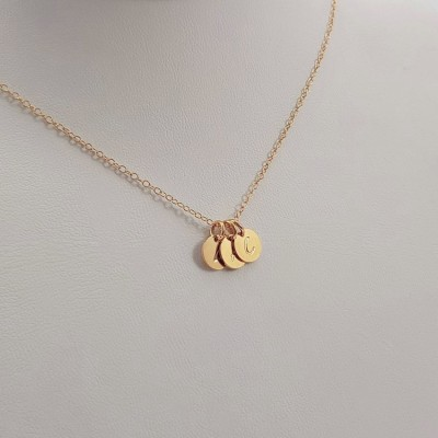 Tiny Gold Disc Necklace Custom Children's Initials| 18k Gold plated sterling silver | 7 x 7 mm