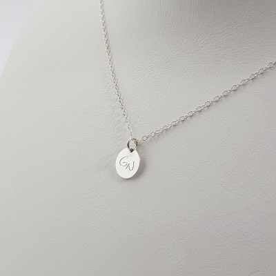 Engraved Disk Necklace | Sterling silver | 9 x 9 mm