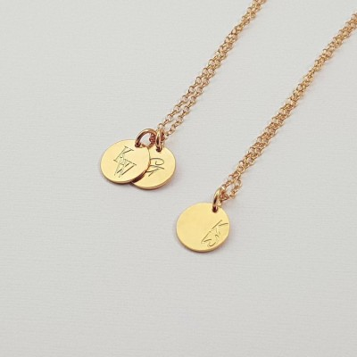 Personalized Initial Disc Necklace | 18k Gold plated sterling silver | 9 x 9 mm