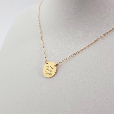 Custom Disk Necklace Gift for Sisters | 18k Gold plated sterling silver | 13 x 13 mm