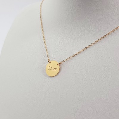 Custom medium disc necklace with initials | 18k Gold plated sterling silver | 13 x 13 mm