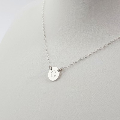 Silver small disk necklace with initials | Sterling silver | 9 x 9 mm