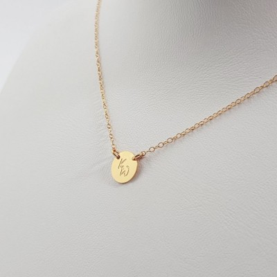 Gold small disk necklace with initials | 18k Gold plated sterling silver | 9 x 9 mm