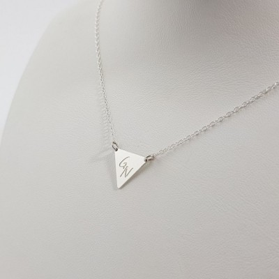 Silver large Triangle Necklace with initials | Sterling silver | 14 x 12,3 mm