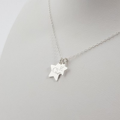 Initial Star Necklace Pendant small and large stars | Sterling silver | Large Star 13 mm Small Star 9 mm