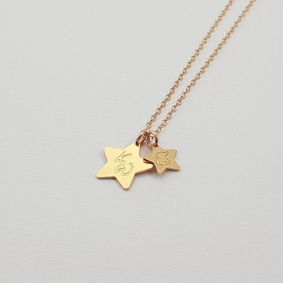 Gold necklace pendant small and large stars | 18k Gold plated sterling silver | Large Star 13 mm Small Star 9 mm