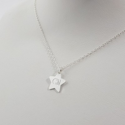 Sterling Silver Star Initial Necklace | Sterling silver | 13 x 12,8 mm