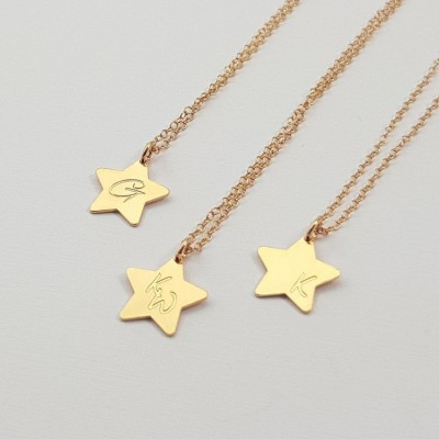 Engraved Star Necklace Pendant | 18k Gold plated sterling silver | 13 x 12.8 mm