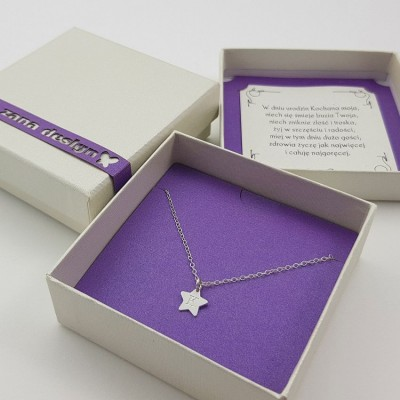 Simple star Initial Necklace | Sterling silver | 9 x 8.8 mm