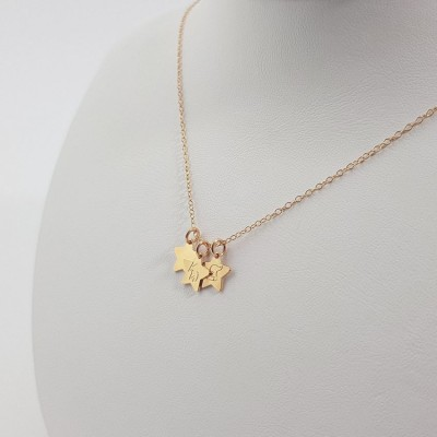 Simple gold star Initial Necklace | 18k Gold plated sterling silver | 9 x 8.8 mm