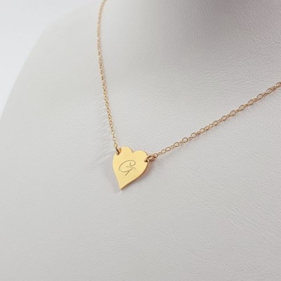 Gold heart necklace with engraving | 24k Gold plated sterling silver | 13 x 13 mm