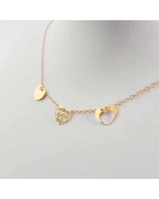 Gold personalized 3 hearts dainty necklace | 24k Gold plated sterling silver | 10 x 9 mm