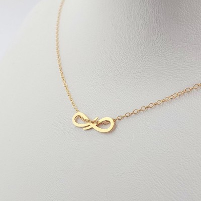 Gold Personalized infinity necklace | 18k Gold plated sterling silver | 18 x 6,5 mm
