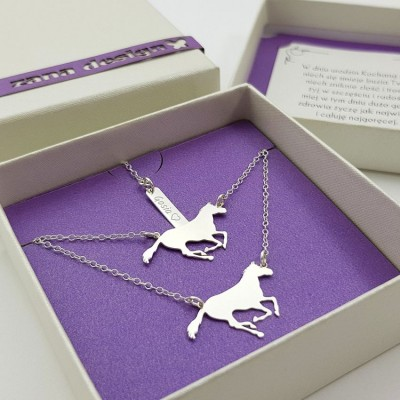 Silver personalized horse bracelet necklace set | Sterling silver | 24 x 14,3 mm