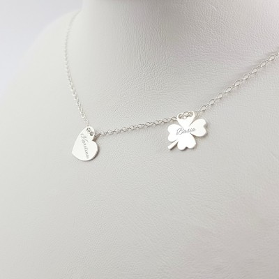 Personalized silver four leaf heart necklace | Sterling silver | 12 x 10,6 mm