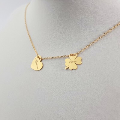 Personalized gold four leaf heart necklace | 24k Gold plated sterling silver | 12 x 10,6 mm