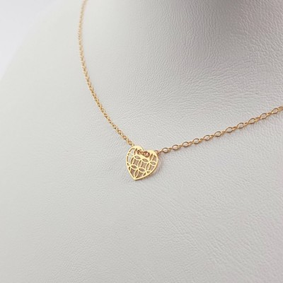 Personalized gold Heart dainty Necklace | 18k Gold plated sterling silver | 10 x 9 mm