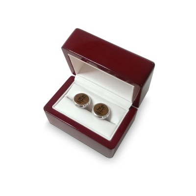 Black piano finish luxury packaging for cufflinks with your dedication