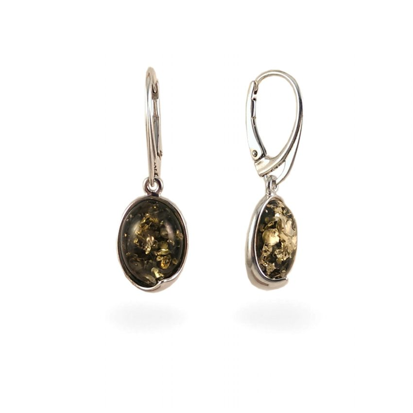 Green amber earrings | Sterling silver | Height - 33mm, Width - 11mm | Weight - 3,6g | ZD.1007G