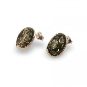 Green amber earrings | Sterling silver | Height - 15mm, Width - 11mm | Weight - 2,6g | ZD.1007S