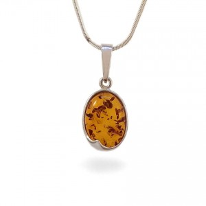 Amber pendant | Sterling silver | Height - 25mm, Width - 11mm | Weight - 1,5g | ZD.1007