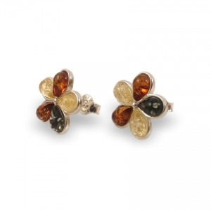 Green amber earrings | Sterling silver | Height - 15mm, Width - 15mm | Weight - 2,5g | ZD.1108S