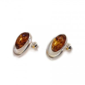 Amber earrings | Sterling silver | Height - 17mm, Width - 13mm | Weight - 3,3g | ZD.1025S