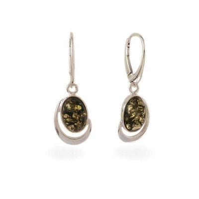 Green amber earrings | Sterling silver | Height - 36mm, Width - 13mm | Weight - 4,3g | ZD.1017G