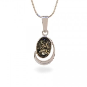 Green amber pendant | Sterling silver | Height - 28mm, Width - 13mm | Weight - 2,1g | ZD.1017G