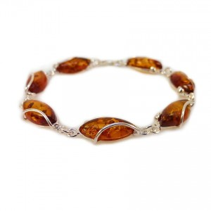 Amber bracelet | Sterling silver | Length - 205mm, Width - 9mm | Weight - 10,2g | ZD.1030