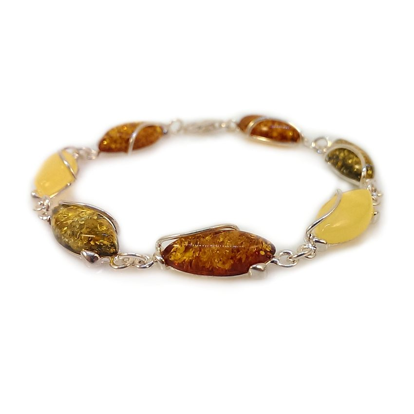 Amber bracelet | Sterling silver | Length - 205mm, Width - 9mm | Weight - 10,2g | ZD.1030M