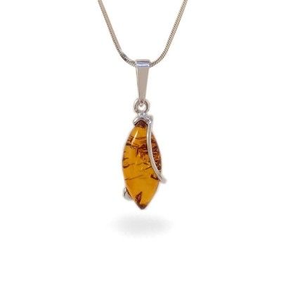 Amber pendant | Sterling silver | Height - 30mm, Width - 9mm | Weight - 1,6g | ZD.1030