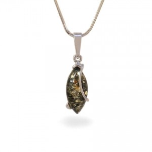Green amber pendant | Sterling silver | Height - 30mm, Width - 9mm | Weight - 1,6g | ZD.1030G