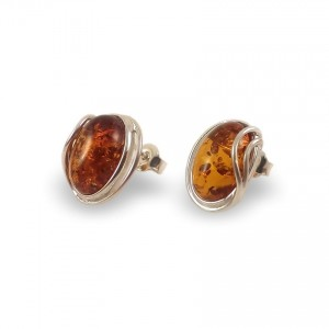 Amber Earrings | Sterling silver | Height - 15mm, Width - 12mm | Weight - 2,7g | ZD.1050S