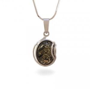 Green amber pendant | Sterling silver | Height - 31mm, Width - 16mm | Weight - 2,7g | ZD.962G