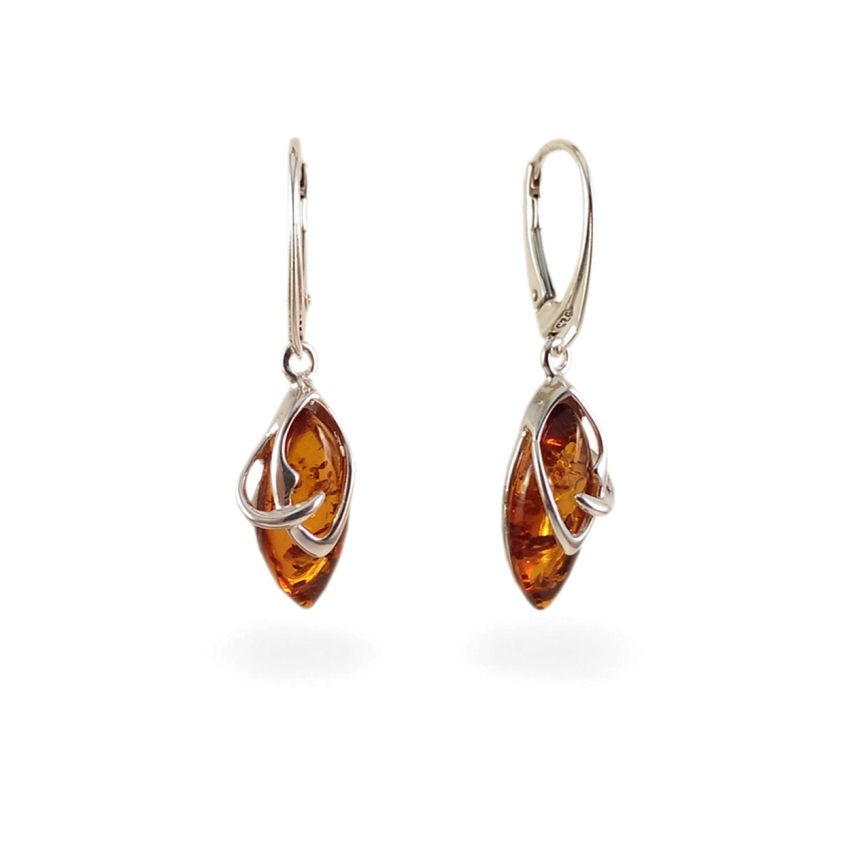 Amber Earrings | Sterling silver | Height - 37mm, Width - 10mm | Weight - 3,6g | ZD.1068