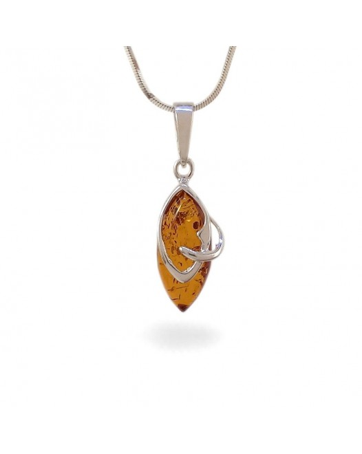 Amber pendant | Sterling silver | Height - 30mm, Width - 10mm | Weight - 1,5g | ZD.1068
